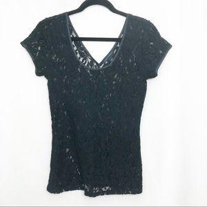 Banana Republic Black Lace Short Sleeve blouse
